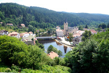 Rozmberk Castle At The Vltava River In Southern Bohemia, Czech Republik