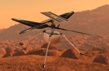 Helicopter Ingenuity Explore Mars.  Drone On The Ground Of Mars Examining Rocks