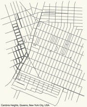 Black Simple Detailed Street Roads Map On Vintage Beige Background Of The Quarter Cambria Heights Neighborhood Of The Queens Borough Of New York City, USA