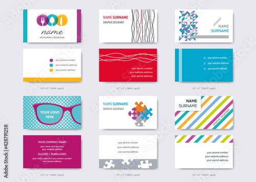 Vector business card design templates big set - fototapety na wymiar