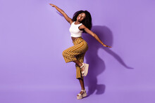 Full Length Body Size View Of Attractive Funny Cheerful Girl Having Fun Like Plane Isolated Over Bright Violet Purple Color Background