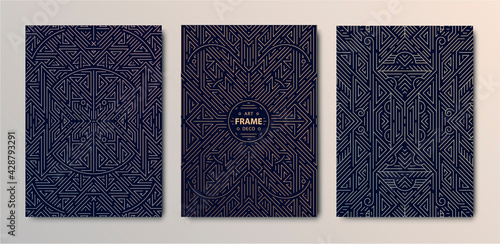Set of vector Art deco golden covers. Creative design templates. Trendy graphic poster, gatsby brochure, design, packaging and branding. Geometric shapes, ornaments - fototapety na wymiar
