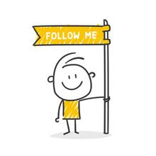 Strichfiguren / Strichmännchen: Follow Me, Folgen, Social Media, Fahne. (Nr. 628)