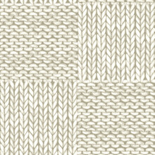 Natural White Patchwork Checkered Realistic Knitted Seamless Pattern