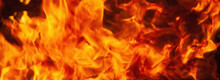 Dramatic Pictures Of Fire Flame Background As Symbol Of Hell And Eternal Pain. Horizontal Image.