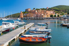 Village Of Rio Marina, Harbour And Moorings On The Island Of Elba