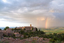 Rainbow Over The Hilltop Town Of Montalcino, Tuscany