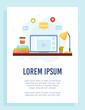 Online courses flyer concept. Home workspace. Remote education. Vector Illustration.