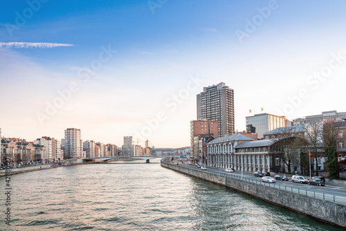 Street view of downtown in Liege city, Belgium - fototapety na wymiar