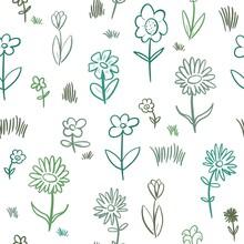 Hand Drawn Flower Texture. Doodle Flower Background.