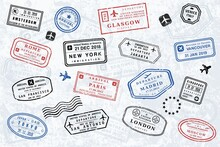 Travel Stamps Collection - Passport Stamp Vector
