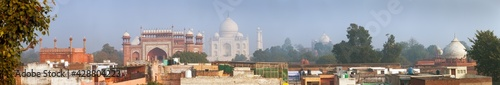 Fototapeta Taj Mahal over the city, panoramic view, Agra India obraz