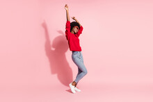 Full Length Body Size View Of Attractive Cheerful Dreamy Girl Dancing Having Fun Amusement Isolated Over Pink Pastel Color Background