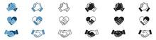 Handshake Icon Set, Soul Brother Handshake Icon, Heart Handshake Icon In Different Style, Vector Illustration