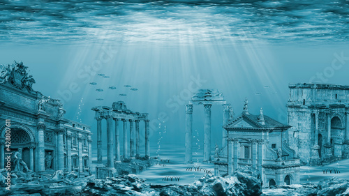 Fotografie, Obraz Ruins of the Atlantis civilization. Underwater ruins