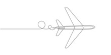 Flying Plane.Airplane Vector .Continuous Line Drawing.Air Flights.Vacation Banner.