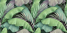 Tropical Exotic Seamless Pattern. Beautiful Textured Pastel Palm, Banana Leaves. Hand-drawn Vintage 3D Illustration. Glamorous Abstract Background Design. Good For Luxury Wallpapers, Fabric Printing
