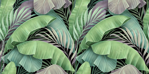 Tropical exotic seamless pattern. Beautiful textured pastel palm, banana leaves. Hand-drawn vintage 3D illustration. Glamorous abstract background design. Good for luxury wallpapers, fabric printing - fototapety na wymiar