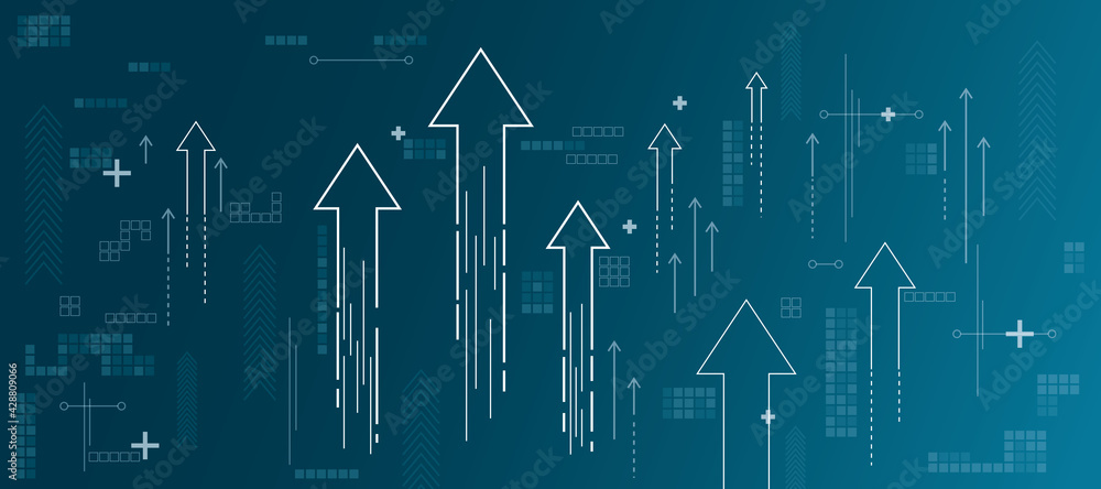 Fototapeta Growth concept with growing arrows, plus signs, pixel symbols and lines on abstract blue shadow background