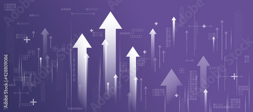 Business success concept with white growing arrows, plus signs, pixel symbols and lines on abstract purple background