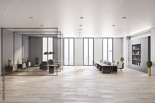 Modern interior design of spacious office hall in skyscraper with stylish workspaces divided by glass partitions, wooden floor and city view from big window - fototapety na wymiar