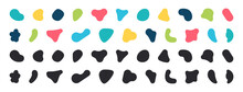 Blobs Icon. Rock Black Icons. Drops Or Stone Silhouettes. Vector Set Of Black And Colorful Blobs And Rock.