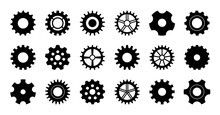 Gear Icon. Cogwheel For Industry. Gearwheel Of Engine. Circle Wheel With Cogs For Machinery. Set Of Silhouette For Technical, Mechanism, Clock And Factory. Black Icons Of Metal Gearwheel. Vector