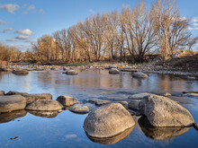 Poudre River Above Fort Collins, Colorado, Where Diversion Dam Was Removed And Replaced By Natural Boulders, Early Spring Scenery