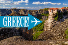 Air Travel To Greece. Greece Logo On Background Of Nature. Airplane Near Landscape Of City Of Kalambaka. Air Travel Too Kalambaka City. Tour To The Monasteries Of Meteora. Tour Of Greece.