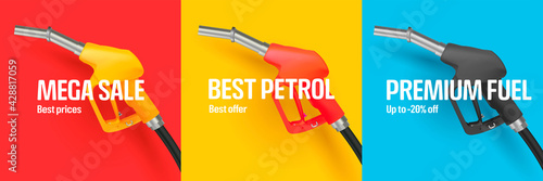Fotografie, Obraz Set of web banners with bright 3d fuel or gas nozzle illustration in tree differ