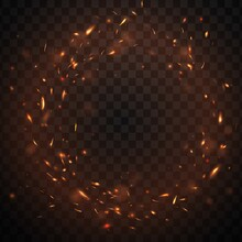 Round Fire Sparks Frame With Burning Bonfire Embers, Vector Glowing Flame Particles. Realistic 3d Blaze Fire Sparks Flying In Air. Firestorm Inferno, Balefire Border Isolated On Transparent Background