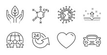Chemical Formula, Heart And Rating Stars Line Icons Set. Car, 24 Hours And Coronavirus Signs. Clean Skin, Fair Trade Symbols. Chemistry, Love Feelings, Internet Rank. Quality Line Icons. Vector