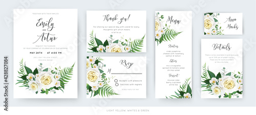 Slika na platnu Vector watercolor floral wedding cards set: invite, thank you, menu, rsvp template
