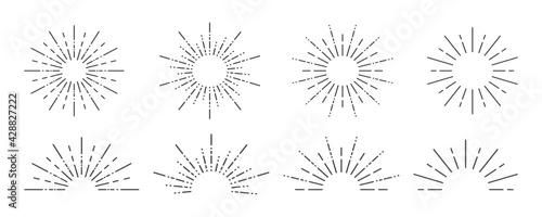 Sunburst icon. Sunburst set on a white background. Collection of sun ray frames. Vector - fototapety na wymiar