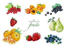 Set Frisches Obst. Aquarell Food Illlustration. Watercolor Fresh Fruits. Isoliert Auf Weißem Hintergrund. Beeren, Orange, Aprikose, Birnen.