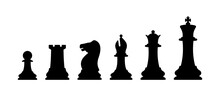 Chess Pieces Vector Illustration. Pawn, Rook, Knight, Bishop, Queen, King.