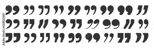 Obraz Quote vector mark, black sign comma isolated on white background. Graphic illustration - fototapety do salonu