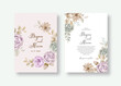 Wedding invitation card with watercolor rose flower