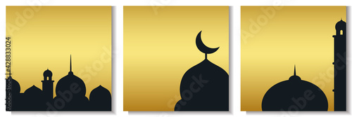 Fotografia set of minimal ramadan background in gold color with mosque.