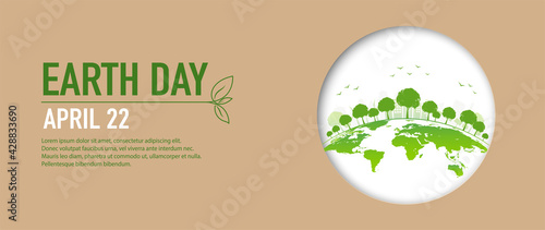 Earth Day banner of brown paper cut style and green city, Vector illustration