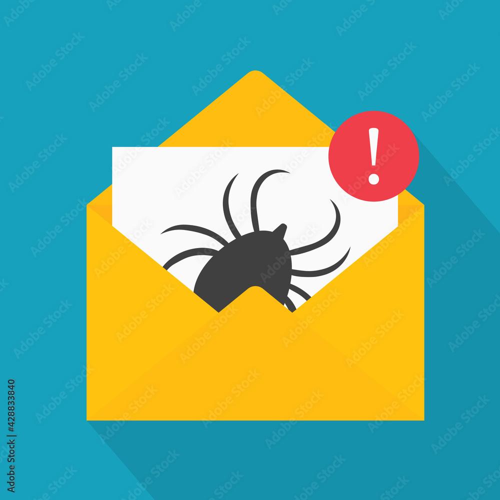 Fototapeta infected email, phishing, scam alert, anti virus concept- vector illustration