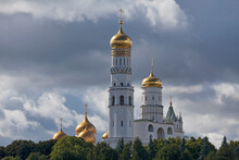 The Ivan The Great Bell-Tower And The Onion Domes Of The Dormition Cathedral In Moscow, Russia