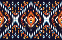 Geometric Ethnic Ikat Pattern Traditional  Design For Background,carpet,wallpaper,clothing,wrapping,Batik, Fabric,Vector Illustration.embroidery Style.