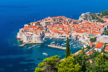 Dubrovnik, Croatia. Panoramic View Of The Walled City.