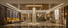 3d Render Hotel Reception Lobby