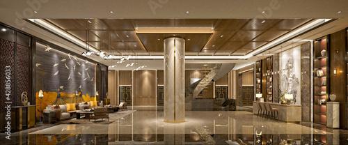 Fotografie, Obraz 3d render hotel reception lobby
