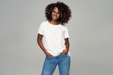 Sexy Black Woman With Afro Hair Wear Classic Outfit Isolated On Gray Background