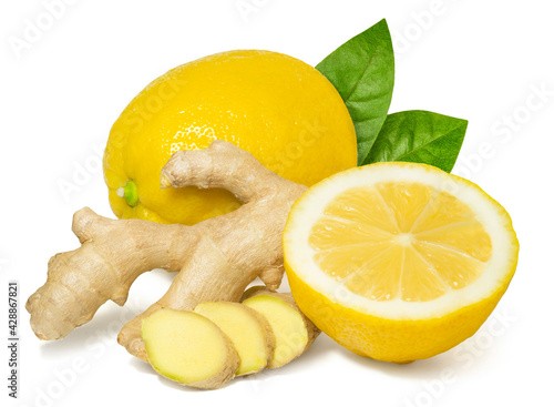 Canvas Print Fresh fragrant healthy ginger and lemon isolated on white background