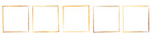 Gold Brush Frame Banner Isolated On White Background
