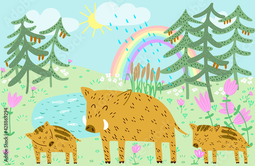 Cute Boar family dad and piglets forest landscape with sky, rainbow and rain han Wallpaper Mural